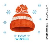 knitted woolen red hat for... | Shutterstock .eps vector #506982274