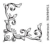vintage baroque corner scroll... | Shutterstock .eps vector #506984911