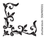 vintage baroque corner scroll... | Shutterstock .eps vector #506985031