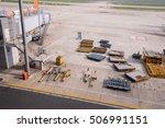 airport runway. working are on...   Shutterstock . vector #506991151