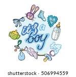 baby born doodle set. baby... | Shutterstock .eps vector #506994559