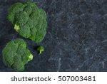 fresh  organic raw broccoli on... | Shutterstock . vector #507003481