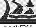 set of new asphalt roads ... | Shutterstock .eps vector #507005191
