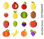 fruit icons set flat line art... | Shutterstock .eps vector #507006049