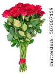 bouquet of dark red rose buds... | Shutterstock . vector #507007159