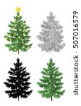 set of christmas trees  with... | Shutterstock . vector #507016579
