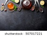 tea cup and assortment of dry... | Shutterstock . vector #507017221