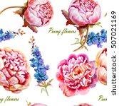 pink  violet peony watercolor ... | Shutterstock . vector #507021169