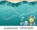 cartoon vector underwater...   Shutterstock .eps vector #507041089