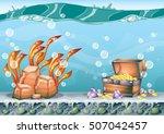 cartoon vector underwater... | Shutterstock .eps vector #507042457