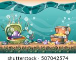 cartoon vector underwater... | Shutterstock .eps vector #507042574