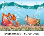 cartoon vector underwater... | Shutterstock .eps vector #507042901