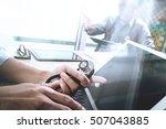 medical technology network team ... | Shutterstock . vector #507043885