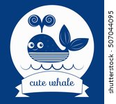 Vector Whale. Blue Whale. Baby...