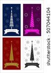 vector set of merry christmas... | Shutterstock .eps vector #507044104