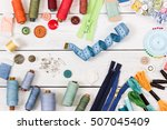 tools for sewing on light... | Shutterstock . vector #507045409