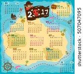 2017 twelve month kids calendar ... | Shutterstock .eps vector #507047095