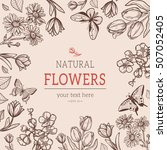 flower vintage styled sketch... | Shutterstock .eps vector #507052405