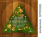 christmas tree made of branches ... | Shutterstock .eps vector #507053281