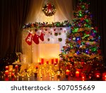 christmas tree night room... | Shutterstock . vector #507055669