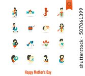 happy mothers day simple flat... | Shutterstock . vector #507061399