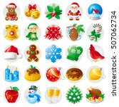 Merry Christmas Icon Set. Xmas...