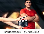 Small photo of Fitness Male Model Ready For a Shoot - Young actor preparing to film a new scene