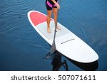 sup stand up paddle board woman ...   Shutterstock . vector #507071611