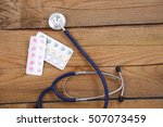 stethoscope and tablets... | Shutterstock . vector #507073459