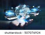 businesswoman connected tech... | Shutterstock . vector #507076924