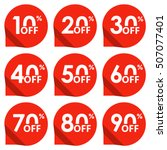 sale tag set. 10 20 30 40 50 60 ... | Shutterstock .eps vector #507077401