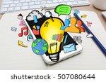 hand drawn lightbulb and... | Shutterstock . vector #507080644