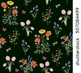 tulip  dandelion  cornflower ... | Shutterstock .eps vector #507084499