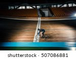 young cyclist on a velodrome | Shutterstock . vector #507086881