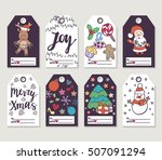 christmas and new year gift... | Shutterstock .eps vector #507091294