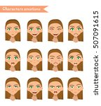girl emotion face expression... | Shutterstock .eps vector #507091615