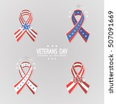 set of ribbons for veterans day.... | Shutterstock .eps vector #507091669