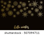 golden snowflakes on black new... | Shutterstock . vector #507094711