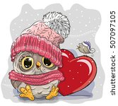 cute cartoon owl in a knitted... | Shutterstock .eps vector #507097105