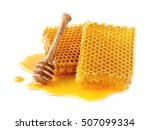 honeycombs with wooden spoon | Shutterstock . vector #507099334