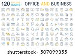 set vector line icons in flat... | Shutterstock .eps vector #507099355
