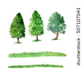 set of trees drawing by... | Shutterstock . vector #507107041