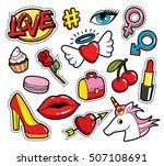 fashion patch badges with lips  ... | Shutterstock .eps vector #507108691