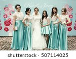 beautiful bridesmaids in silk... | Shutterstock . vector #507114025