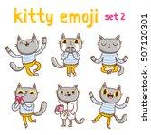 kitty emoji set 2. vector... | Shutterstock .eps vector #507120301
