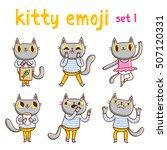 kitty emoji set 1. vector...   Shutterstock .eps vector #507120331