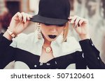 young sexy woman with red lips  ... | Shutterstock . vector #507120601