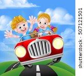 a cartoon boy and girl having... | Shutterstock .eps vector #507121501