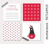 christmas cards with polar bear | Shutterstock .eps vector #507124915