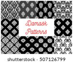 set of damask seamless patterns.... | Shutterstock .eps vector #507126799